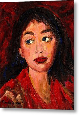 Painting Of A Dark Haired Girl Commissioned Art Metal Print by Carole Spandau