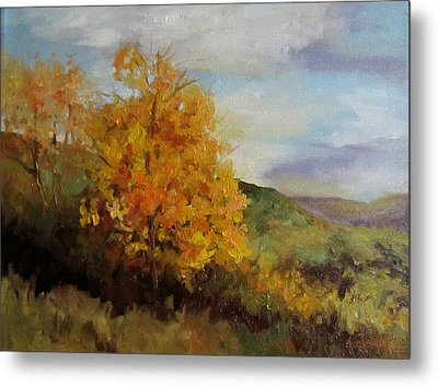 Painting Of A Golden Tree Metal Print by Cheri Wollenberg