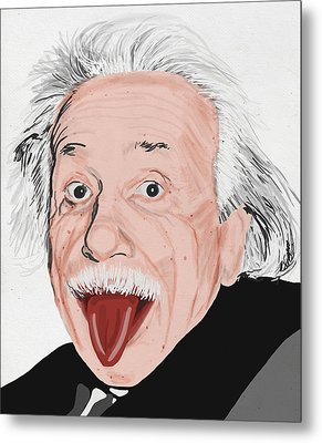 Painting Of Albert Einstein Metal Print by Setsiri Silapasuwanchai