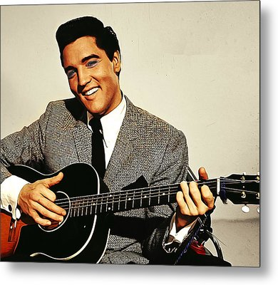 Painting Of Early Young Elvis With Guitar Metal Print by Elaine Plesser