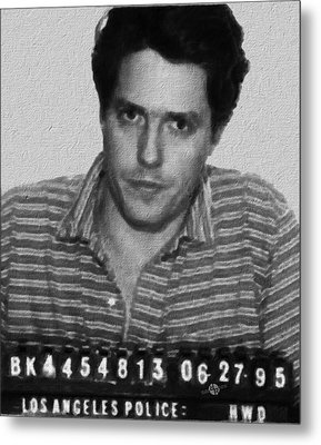 Painting Of Hugh Grant Mug Shot 1995 Black And White Metal Print by Tony Rubino