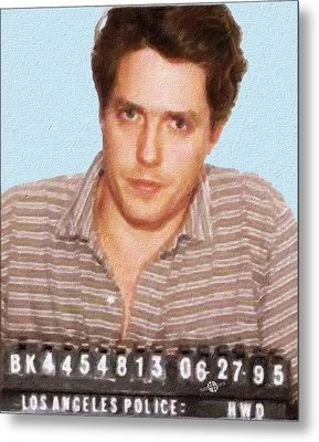 Painting Of Hugh Grant Mug Shot 1995 Black Color Metal Print by Tony Rubino