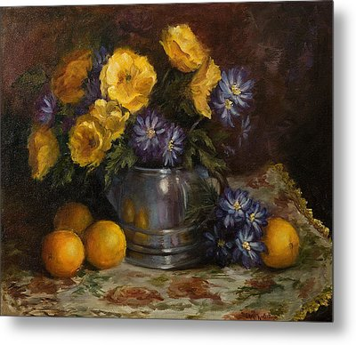 Painting Of Oranges And Poppies Metal Print