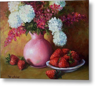 Painting Of Pink Pitcher And Strawberries Metal Print