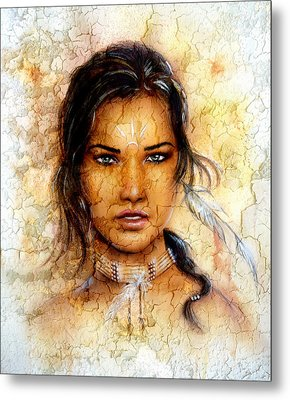 Painting Young Indian Woman Wearing A Feather Eye Cont Crackle Background. Metal Print by Jozef Klopacka