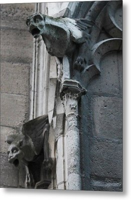 Metal Print featuring the photograph Pair Of Griffons Of Notre Dame by Christopher Kirby