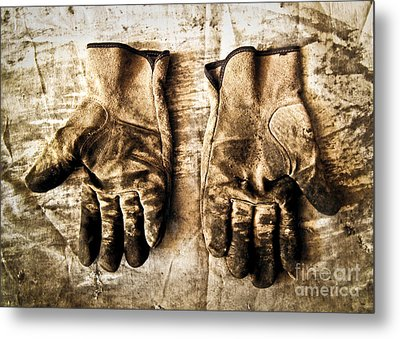 Pair Of Work Gloves In Monotone Metal Print by Emilio Lovisa