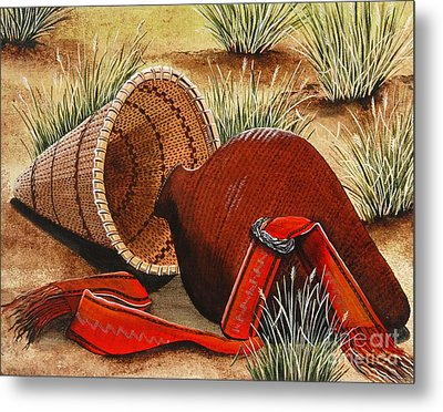 Metal Print featuring the painting Paiute Baskets by Jennifer Lake
