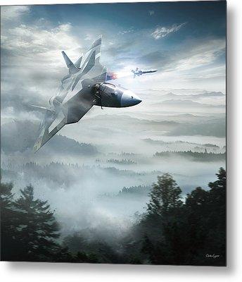 Pak Fa Aka T-50 - Russian Fifth-generation Fighter Jet Metal Print by Anton Egorov