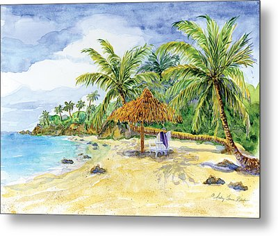 Palappa N Adirondack Chairs On A Caribbean Beach Metal Print by Audrey Jeanne Roberts