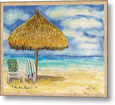 Palappa N Adirondack Chairs On The Mexican Shore Metal Print