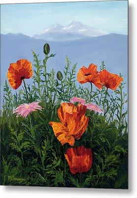 Pallet Knife Poppies Metal Print by Mary Giacomini