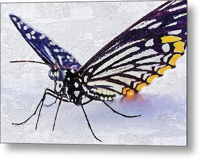 Metal Print featuring the digital art Pallete Knife Painting Blue Butterfly by PixBreak Art