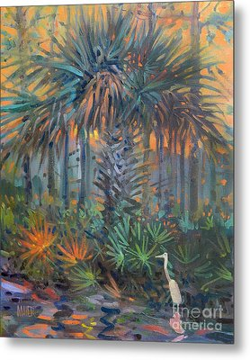 Palm And Egret Metal Print by Donald Maier