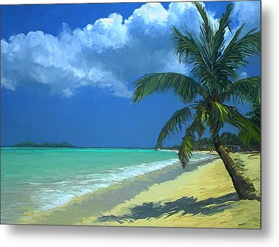 Metal Print featuring the painting Palm Beach In The Keys by David  Van Hulst
