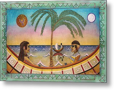 Palm Boats Metal Print by Sally Appleby