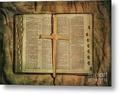 Metal Print featuring the digital art Palm Branch Cross And Bible by Randy Steele