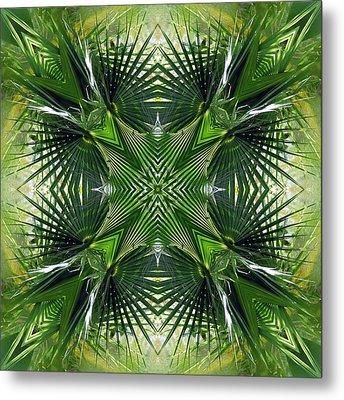 Palm Frond Kaleidoscope Metal Print by Francesa Miller