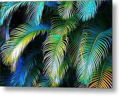 Palm Leaves In Blue Metal Print
