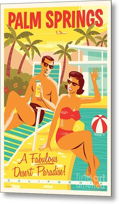 Palm Springs Retro Travel Poster Metal Print