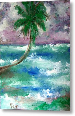 Palm Tree And The Sea Metal Print by Patricia Taylor