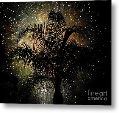Palm Tree Fireworks Metal Print by David Lee Thompson