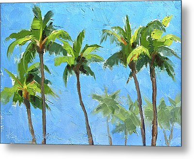 Metal Print featuring the painting Palm Tree Plein Air Painting by Karen Whitworth