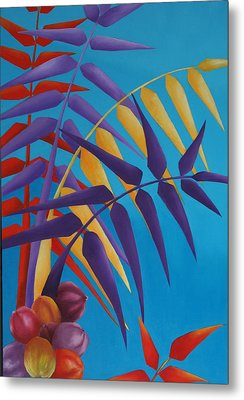 Metal Print featuring the painting Palm Tree With Coconuts 1 by Karin Eisermann