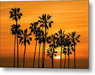 Metal Print featuring the photograph Palm Trees At Sunset By Cabrillo Beach by Randall Nyhof
