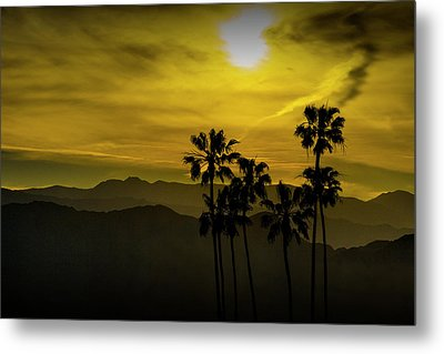 Metal Print featuring the photograph Palm Trees At Sunset With Mountains In California by Randall Nyhof