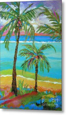 Palm Trees In Landscape Metal Print by Karen Fields