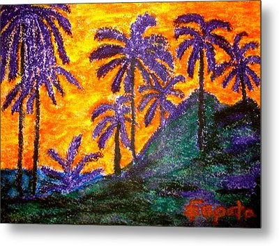 Palm Trees In Paradise Metal Print by Felix Zapata