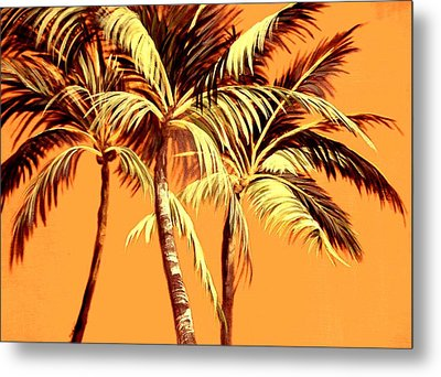 Palm Trees In Sepia Metal Print