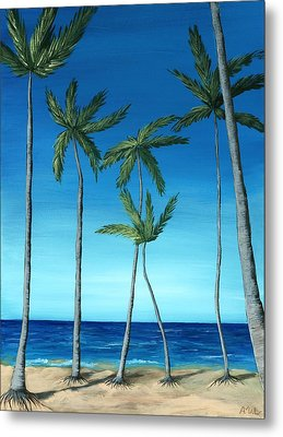 Metal Print featuring the painting Palm Trees On Blue by Anastasiya Malakhova