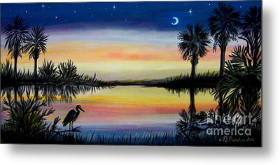 Palmetto Tree And Moon Low Country Sunset Metal Print by Patricia L Davidson