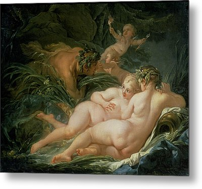 Pan And Syrinx Metal Print by Francois Boucher