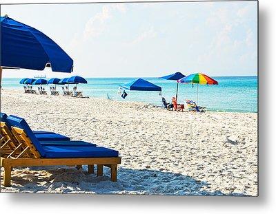 Panama City Beach Florida With Beach Chairs And Umbrellas Metal Print