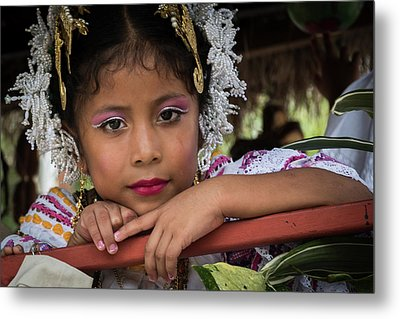Panamanian Girl On Float In Parade Metal Print