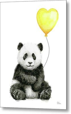 Panda Baby With Yellow Balloon Metal Print by Olga Shvartsur
