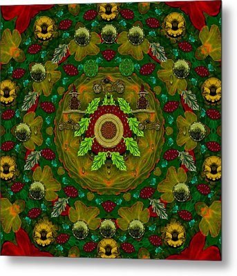 Panda Bears With Motorcycles In The Mandala Forest Metal Print