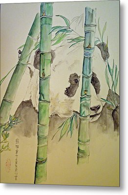 Metal Print featuring the painting Panda Eating  by Debbi Saccomanno Chan
