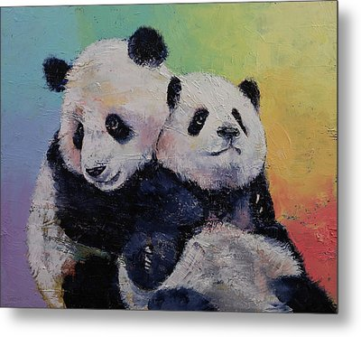 Panda Hugs Metal Print by Michael Creese