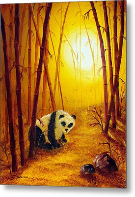 Panda In Sunset Bamboo Metal Print by Laura Iverson