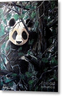 Panda In Tree Metal Print