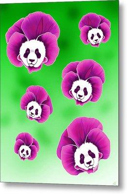 Panda Pansies Metal Print
