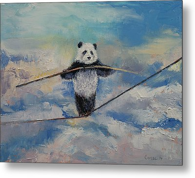 Panda Tightrope Metal Print by Michael Creese