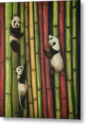 Metal Print featuring the painting Pandas Climbing Bamboo by Leah Saulnier The Painting Maniac