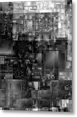 Metal Print featuring the digital art Panels In Grey by Richard Ortolano