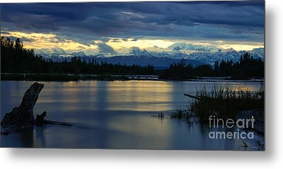 Pano Alaska Midnight Sunset Metal Print by Jennifer White