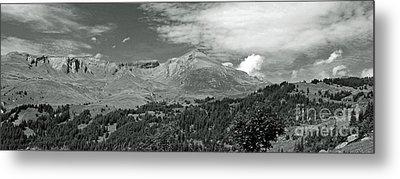 Panorama Alps Switzerland In Black And White Metal Print